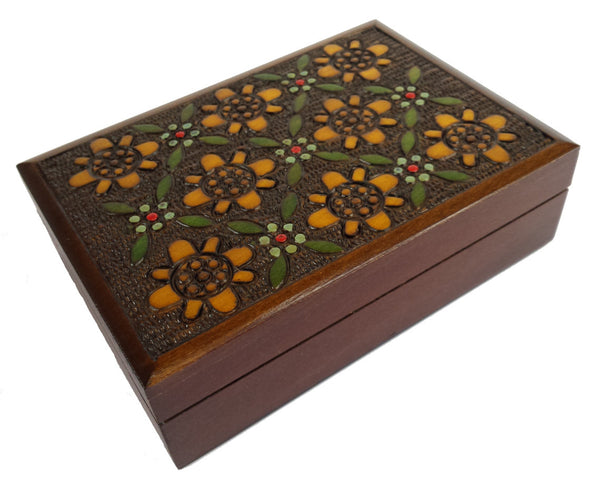 Small Traditional Floral Wooden Box of Poland