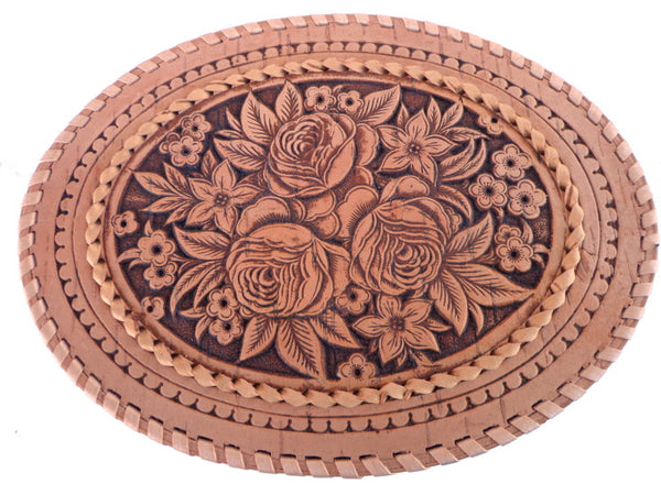 "Large Oval ""Roses"" Birch Bark Trinket Box"