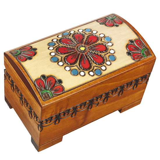 Country Floral Wooden chest with lock