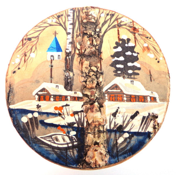 Winter Scene Russian Birch Bark Box