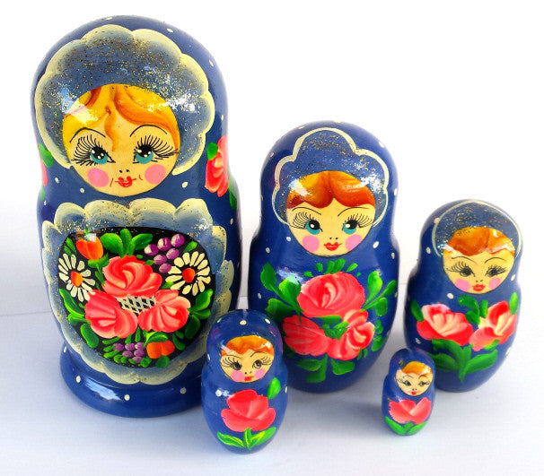 """Blue Dolya"" 5 piece Russian Nesting Dolls"