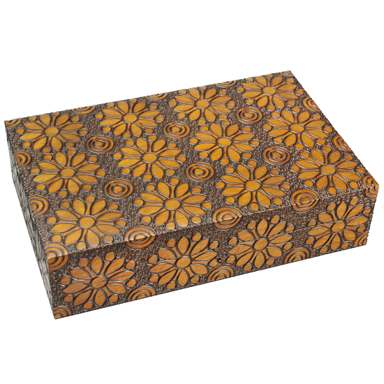 Flower Power Wooden Keepsake Box with Lock & Key