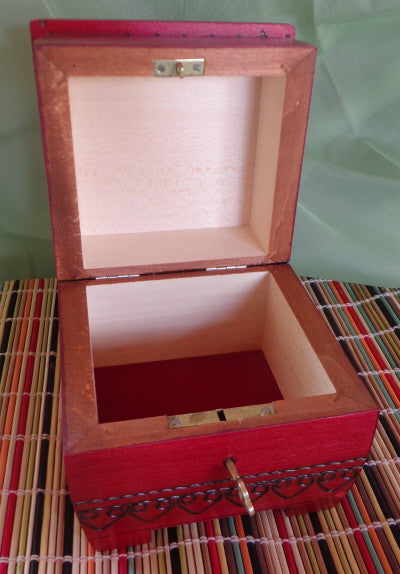 Mountain Flower Wooden Box with Lock & Key