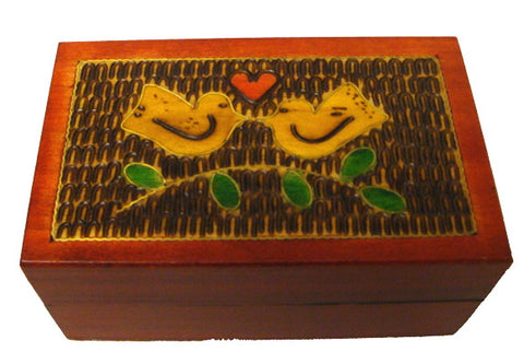 Love Birds Tiny Wooden Box with Brass Inlay