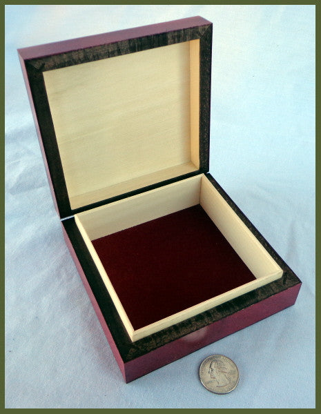 Small Handcrafted Deco Box with Brass Inlay