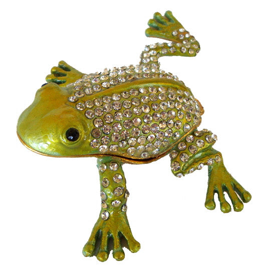 Crystal Adorned Frog Enamel Box