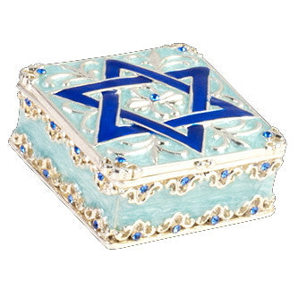 Star of David Enamel Box with Crystal