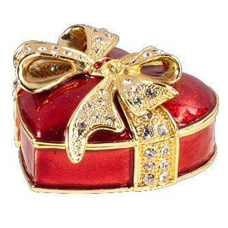 Sweetheart Enamel Box with Crystals