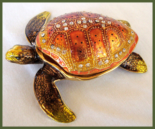 Pewter and Enamel Sea Turtle Trinket Box with Crystals