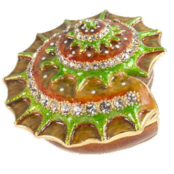 Shell Enamel Box with Crystals