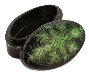 """Emerald Blossoms"" Lacquer Trinket Box of Thailand"