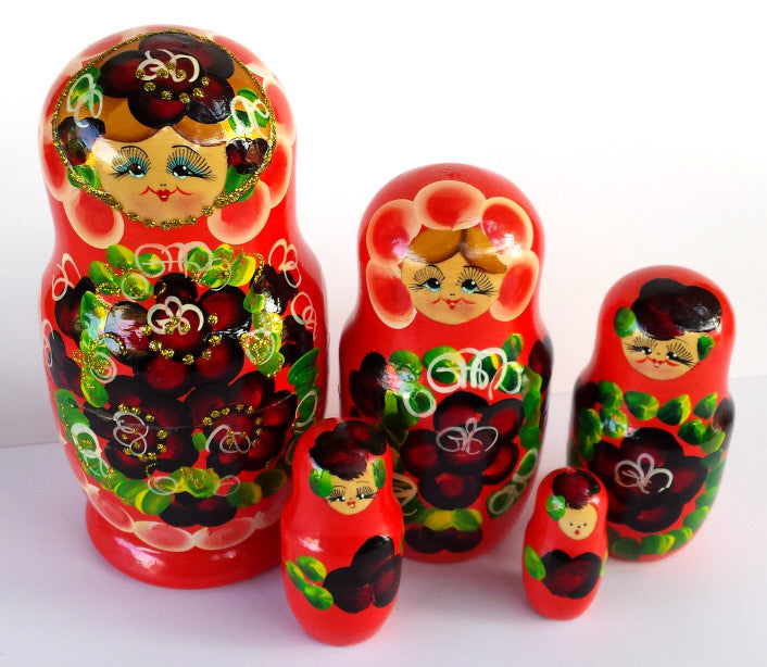 """Coral Bouquet"" 5 piece Russian Nesting Dolls"