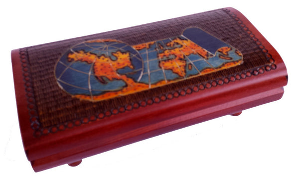 Scrolling World Map Cigar Box with Brass Inlay