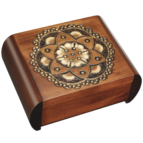 floral chakra brass inlay secret box of Poland