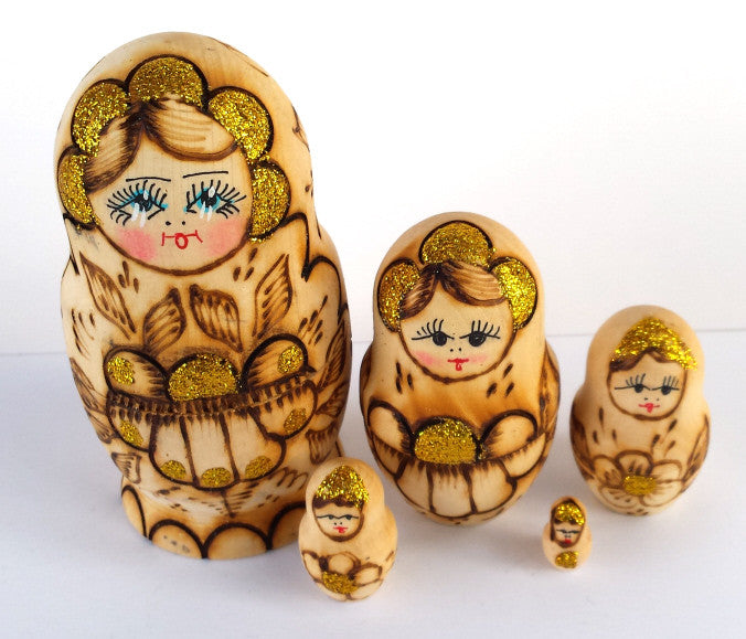 Small Burned Natural 5 Piece Russian Nesting Dolls
