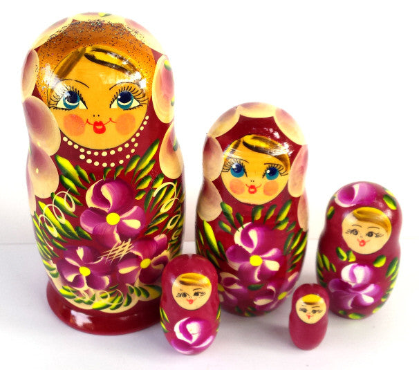 """Burgandy Beulah"" 5 piece Russian Nesting Dolls"