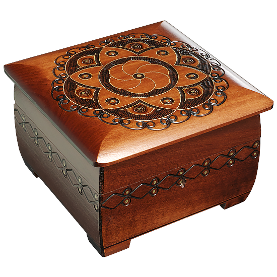 Floral polish box with lock and brass inlay