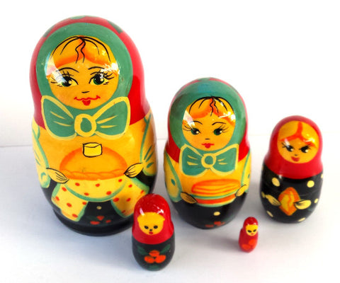 Little Maiden 5 Piece Russian Nesting Dolls