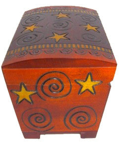 Spirals Wooden Chest w/Lock from Poland