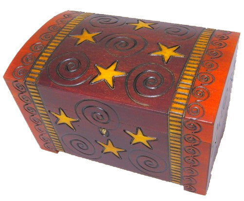 Spirals Wooden chest from Poland with Lock