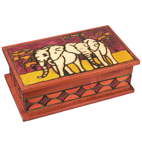 """Elephants"" Polish Secret Box (Sliding Front Panel)"
