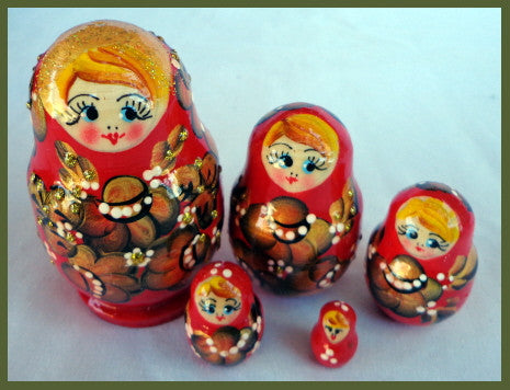 Small Red Russian Nesting Dolls