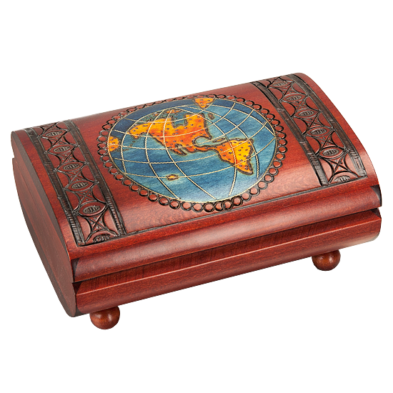 Worldly Wooden Cigar Box with Brass Inlay