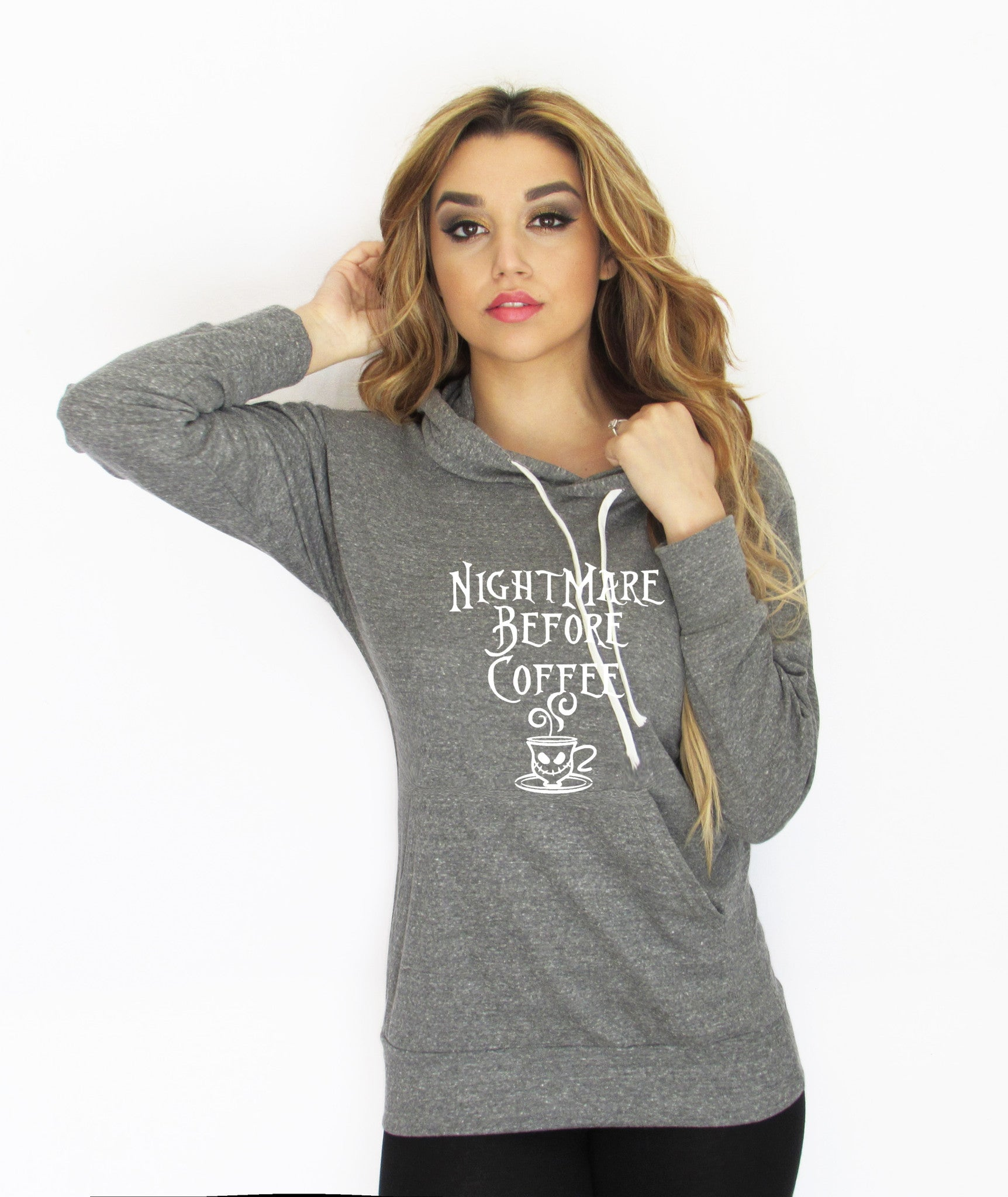 Nightmare before coffee Light Weight Hoodie made by Think Elite.