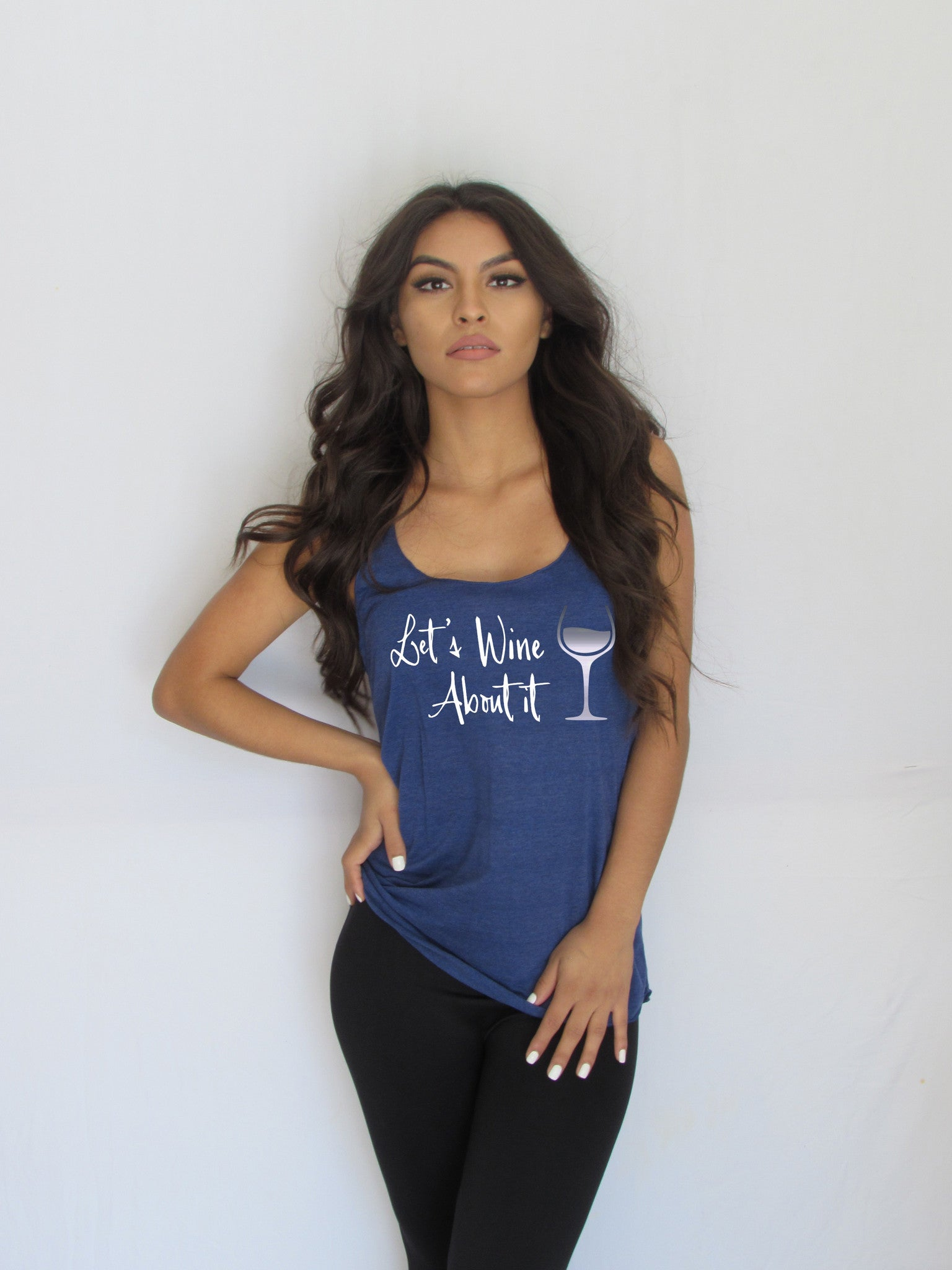 Let's wine about it Women's Loose Racerback Tank made by Think Elite.