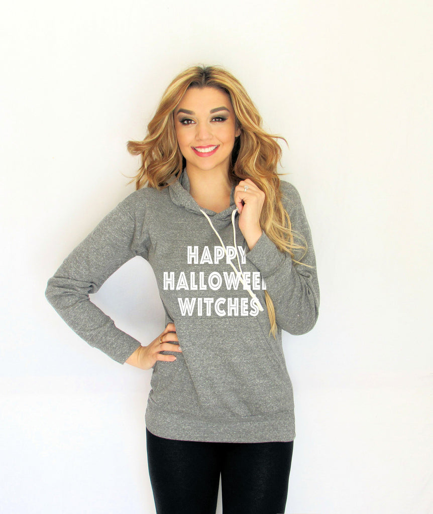 Happy Halloween Witches Light Weight Hoodie made by Think Elite.