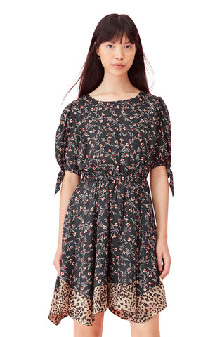 Lia Floral Silk Twill Dress