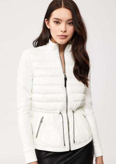 Joyce Mixed-Media Jacket With Drawcord Waist