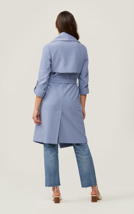 Ornella  Knee-Length Coat With Cascade Draped Collar