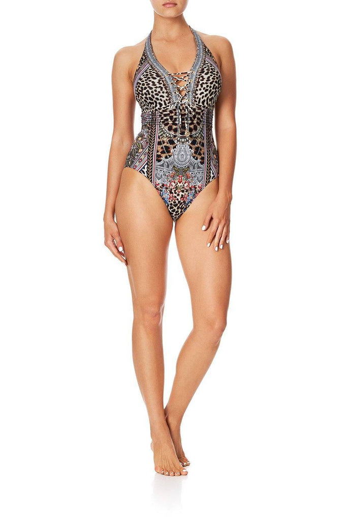 CAMILLA Pintuck Lace Up Halter One Piece