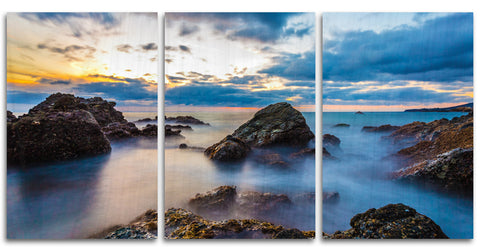 Calm and Cloudy Laguna Beach Wood Print | Portrait Split Panel