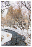 River to June Lake Wood Print | Portrait Split Panel
