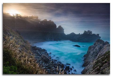 Sunrise Peaking at McWay Falls Wood Print | Single Panel
