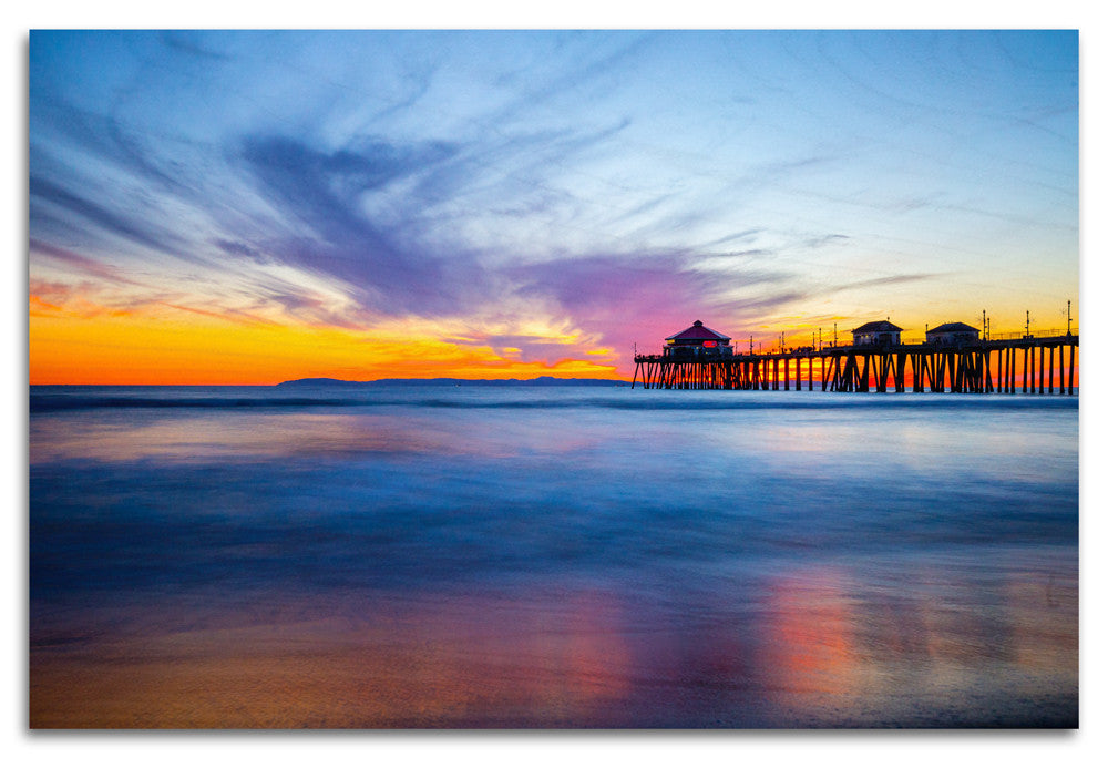 Sunset at Huntington Pier Wood Print | Single Panel