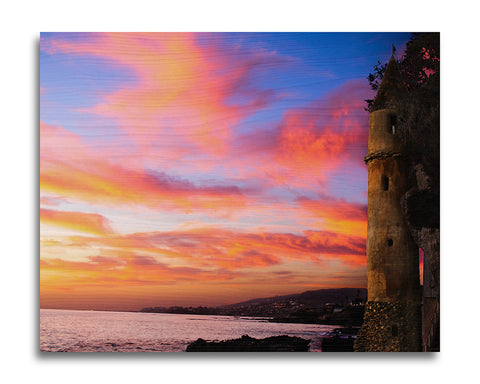 Victoria Beach Castle Sunset Wood Print | Single Panel