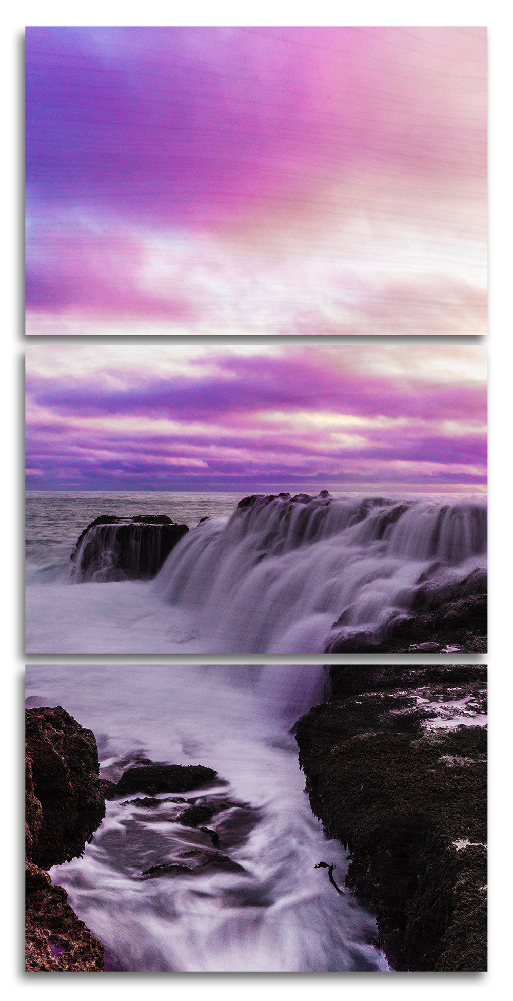 Waterfall Sunsets in San Pedro Wood Print | Landscape Vertical Split Panel