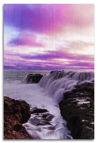 Waterfall Sunsets in San Pedro Wood Print | Single Panel