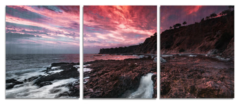 Palos Verdes Cliffs Wood Print | Portrait Split Panel 1