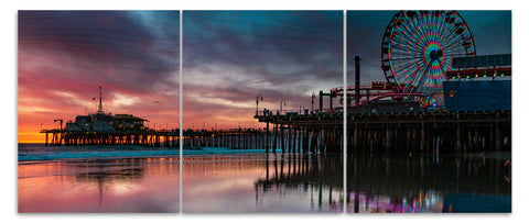 Santa Monica Wood Print | Portrait Split Panel 1