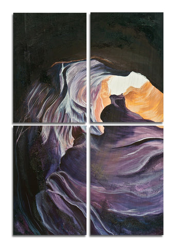Antelope Canyon 2 Wood Print | Portrait Split Panel