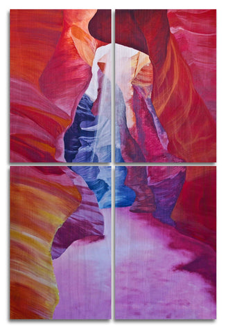 Antelope Canyon Wood Print | Portrait Split Panel