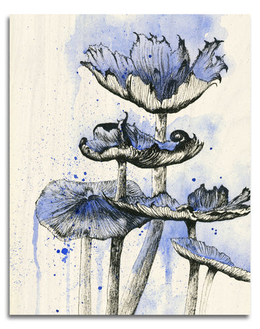 Blue Mushrooms Wood Print | Single Panel