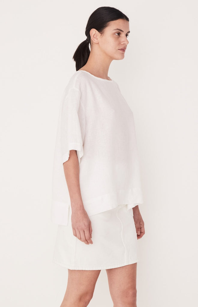 Boxy Linen Top White, Top, Assembly Label - Mika and Max