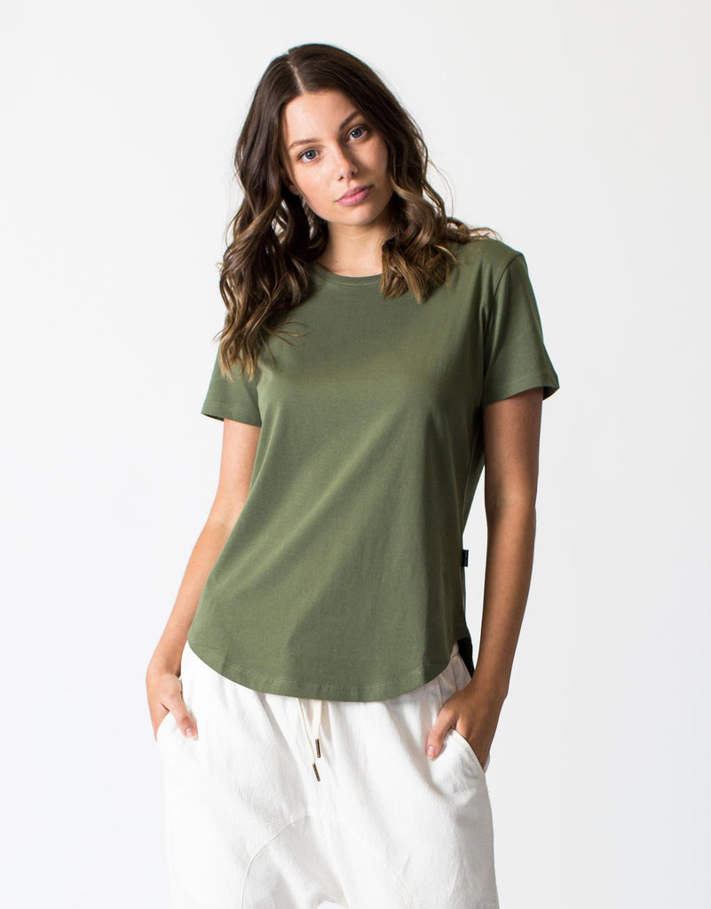 Basic Saddle Hem Tee Khaki, tee shirts, Casa Amuk - Mika and Max
