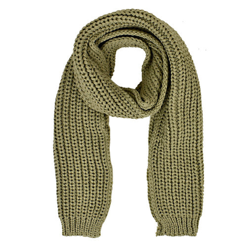 Olive Plain Knit Scarf