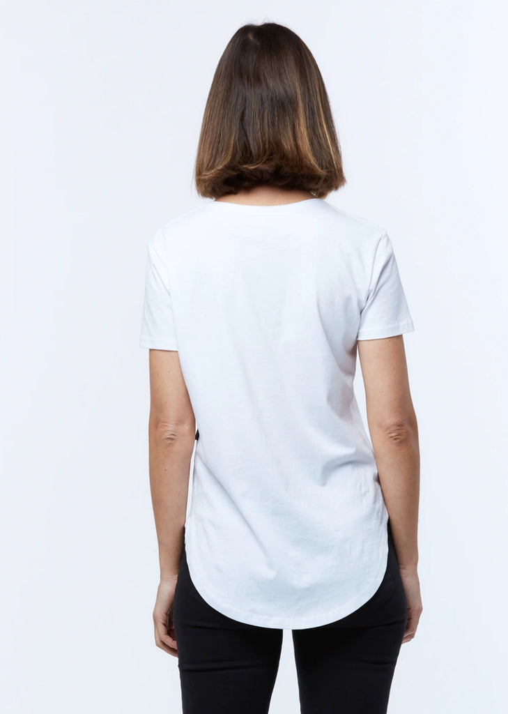 Saddle Hem Tee White